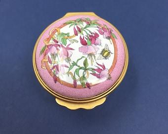 Halcyon Enamel Fuschia Flowers and Bee Enamel Hinged Box, Trinket Box