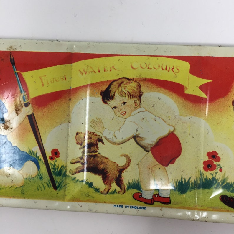 3 by 7 Vintage English First Watercolor Box Good Condition