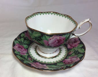 Vintage Needle Point Royal Albert Bone China England Roses Tea Cup and Saucer