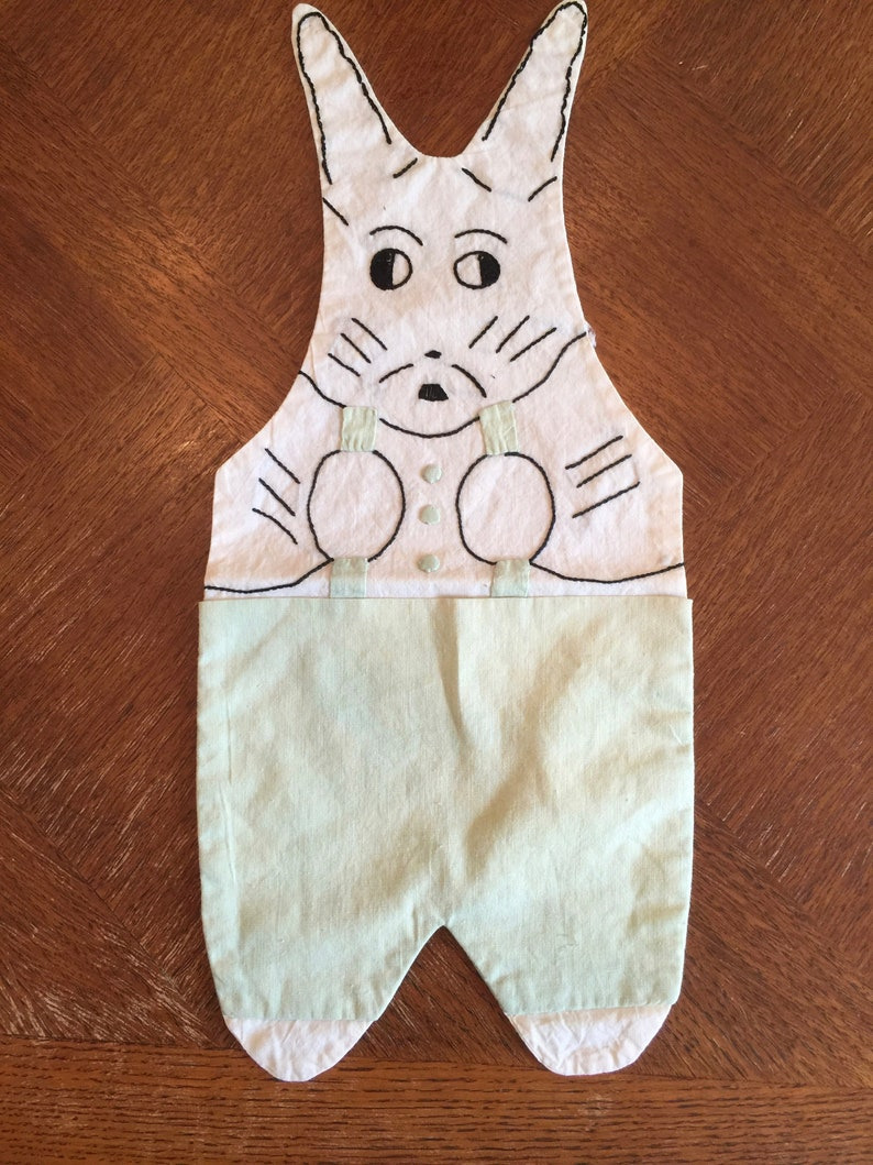 Vintage Bunny with Pouch; Pale Nile Green and Cream with Black Embroidery; 7 by 15