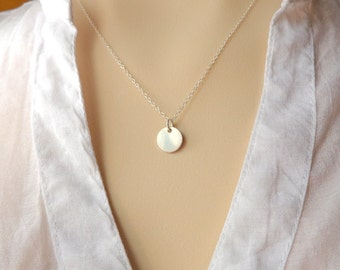 Necklace all components sterling silver 925 pendant with disk 10 mm 925 sterling silver , simple, minimal, mild