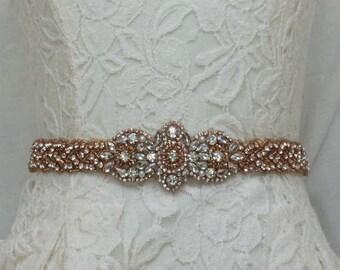 "The ""Rosita"" Wedding Sash; Crystal Rose Gold Bridal Sash; Rose Gold Beaded Wedding Dress Belt;Unique Bridal Sash;Unique Wedding Dress Sash"
