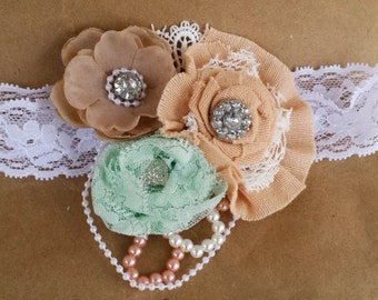 Couture Shabby Chic Baby Headband; Vintage Inspired Baby Props; Vintage Baby Wedding Headband; Elastic Lace Toddler Headband