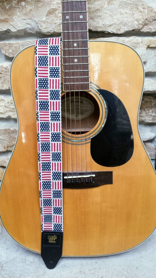 american flag threaded guitar strap american pride guitar etsy. Black Bedroom Furniture Sets. Home Design Ideas