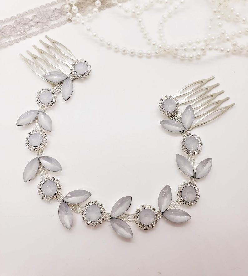 Opal Head chain; Opal Wedding Hair chain; Head chain; Bridal Head chain; Opal Headpiece; Hair Floater; Hair Vine; Rhinestone Headpiece