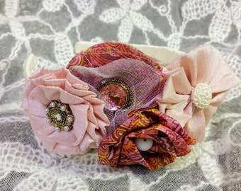 Couture Shabby Chic Easter Headband; Pink Easter Headband; Vintage Easter Headband; Pink Easter Girl's Headband; Shabby Chic Headband