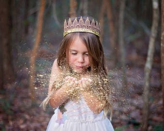 Kid's Gold Ombre Glitter Lace Crown; Girl's Crown Headband; Hipster Toddler Crown; Kid' Birthday Crown; Metallic Gold Lace Crown