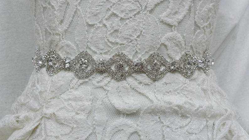 Thin Silver Crystal Wedding Dress Sash Thin Rhinestone Bridal Etsy