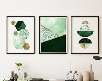 Set of 3 Green and Gold Wall Art Prints, Green and Gold Prints, Green Gold art, Green Geometric prints, Living room art, green wall decor