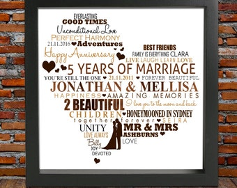 5th ANNIVERSARY GIFT - 5th anniversary gifts, 5th wedding anniversary, 5th wedding anniversary gift, wood anniversary, anniversary print