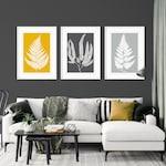 Mustard and Grey Leaf Prints, fern leaf prints, Botanic Wall prints, leaf print wall art, Mustard Wall Art, Tropical Print, Yellow Wall Art,
