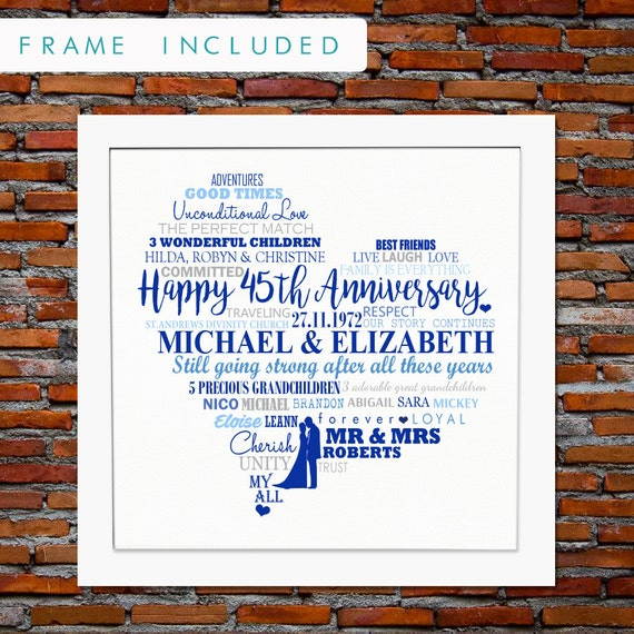 45th Anniversary 45th Anniversary Gift 45th Wedding Etsy
