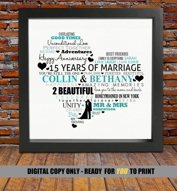 Personalized 15th Anniversary Gift 15th Wedding Anniversary Etsy