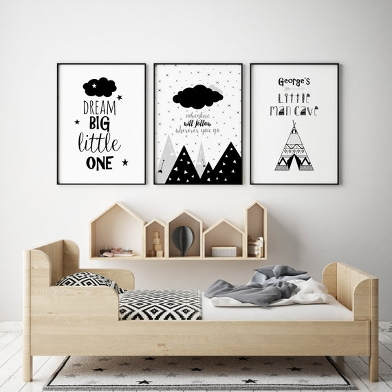 Little Man Cave Banner Grey /& Black Nursery Print Kids Bed Boys Wall Art Picture
