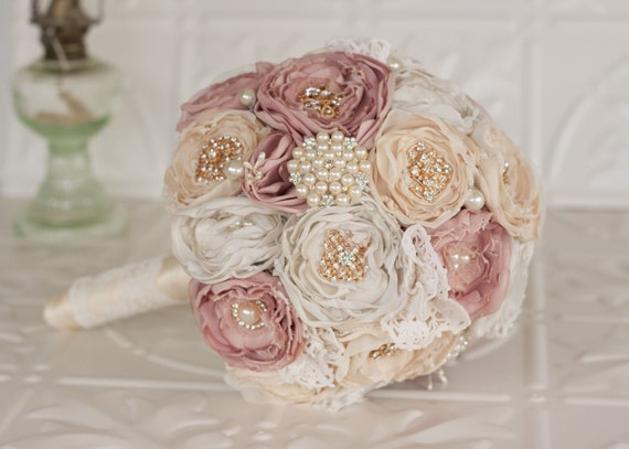 Vintage Inspired Fabric Bouquet Satin And Lace And Brooch Etsy
