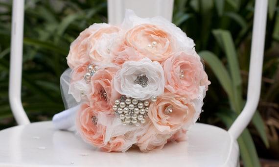 Stoff Blumen Brautstrauss Off White Lachs Rosa Chiffon Und Etsy
