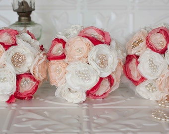 Fabric Flower and Brooch Bridesmaids Bouquet set of three (3) Fabric flower bouquet, Ivory,Cream and Champagne