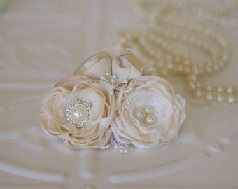 Bridal corsage, Mother of the bride, bridesmaids, flower girl corsage, Debutante, Ivory and Cream