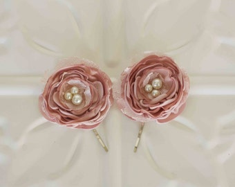 Vintage inspired Rose Pink Satin and lace hair pins, bridal hair pins