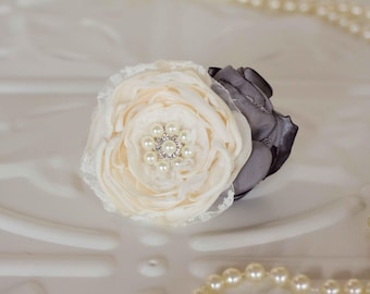 Bridal corsage, Mother of the bride, bridesmaids, flower girl corsage, Debutante, Ivory and Charcoal