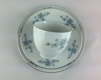 Vintage Teacup Trio Winterling Bavaria Germany Renaissance Pattern White Bone China with Blue Flowers Silver Rim