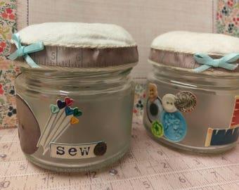Pin cushion Jar, handmade pin cushion, pincushion, upcycled pin cushion, mason jar pin tidy, cute pin cushion, haberdashery jar, sewing jar