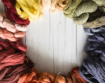 Plant dyed wool yarn 3g/50m skein, cobweb weight. For tablet weaving and embroidery.