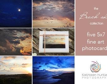 Beach skies photo card collection; beach sunset photos
