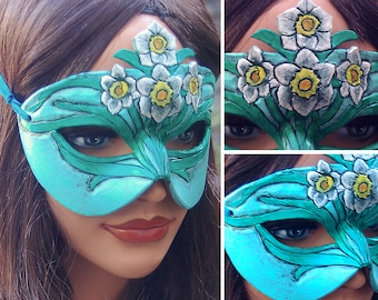Lady of December Turquoise and Narcissus Leather Mask - Limited Edition 1 of 10 Birthstone Birth Flower Art Nouveau Mardi Gras Masquerade