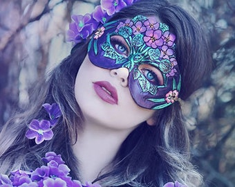 February Violets & Primrose Leather Mask - Limited Edition MADE TO ORDER Floral Birthstone Art Nouveau Mardi Gras Masquerade