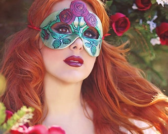 June Birthstone Rose and Pearl Leather Mask - Limited Edition of 10 Floral Flower Art Nouveau Mardi Gras Masquerade