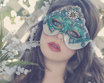 Lady of April Diamond and Daisy Leather Mask - Limited Edition of 10 Birthstone Birth Flower Art Nouveau Mardi Gras Masquerade Wedding