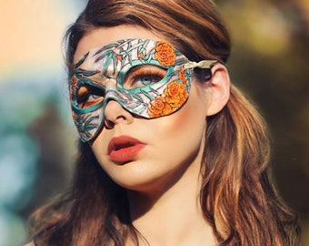 Lady of October Opal and Marigold Mask - Limited Edition 1 of 10 Birthstone Birth Flower Art Nouveau Mardi Gras Masquerade
