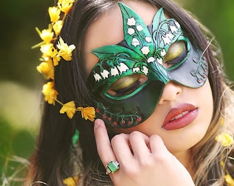 Lady of May Emerald and Lily of the Valley Leather Mask - Limited Edition of 10 Birthstone Birth Flower Art Nouveau Mardi Gras Masquerade