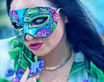 Lady of September Sapphire Morning Glory Leather Mask - Limited Edition 2 of 10 Birthstone Birth Flower Art Nouveau Mardi Gras Masquerade