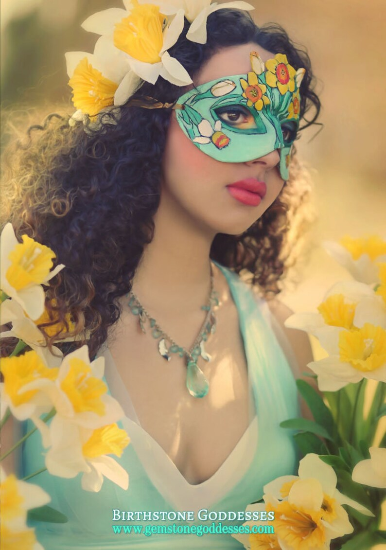 Lady of March Aquamarine and Daffodil Leather Mask  Limited image 0