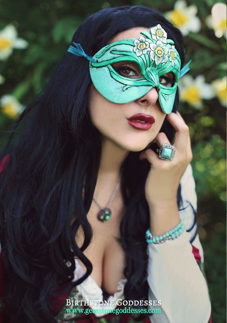 Lady of December Turquoise and Narcissus Leather Mask  image 0