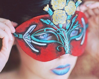 January Birthstone Carnation and Snowdrop Leather Mask - Limited Edition 3 of 10 Floral Flower Art Nouveau Mardi Gras Masquerade