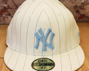 24cea827c8537 New Era 59 Fifty Hat MLB New York Yankees Pinstripe Fitted Men s 7 3 8 Cap
