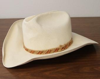 Vtg John B. Stetson Straw Cowboy Western Hat Men s Size 7 cbdfc085d29b