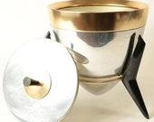Vintage Atomic Era Aluminum Brass Rocket Ice Bucket on Bakelite Stand 9 quot Tall