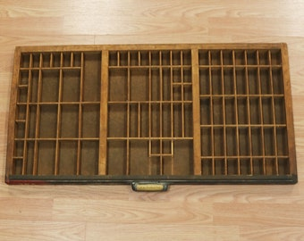 Vtg Thompson Cabinet Co Printers Type Drawer Shadow Box Tray Wood 32 x16.5  x 1