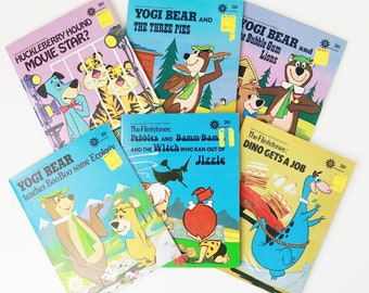 Lot of 6 Hanna-Barbera Durabooks - Yogi Bear Huckleberry Hound Flintstones