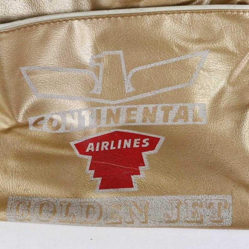 Vtg 70s Continental Airlines Golden Jet Retro Gold 13 Flight Carry-On Bag
