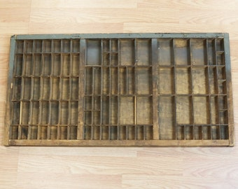 Vtg Industrial Printers Type Drawer Shadow Box Tray Wood 32.5 x16.5  x 1.5