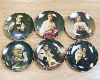 The Beauty of Bouguereau 6 Plate Set Matched Numbers Royal Cornwall Porcelain
