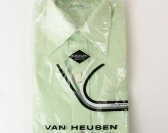 Van Heusen Hamshire House Dress Shirt Green Euroflair Sz 15 1/2/33 NOS 1950s 60s