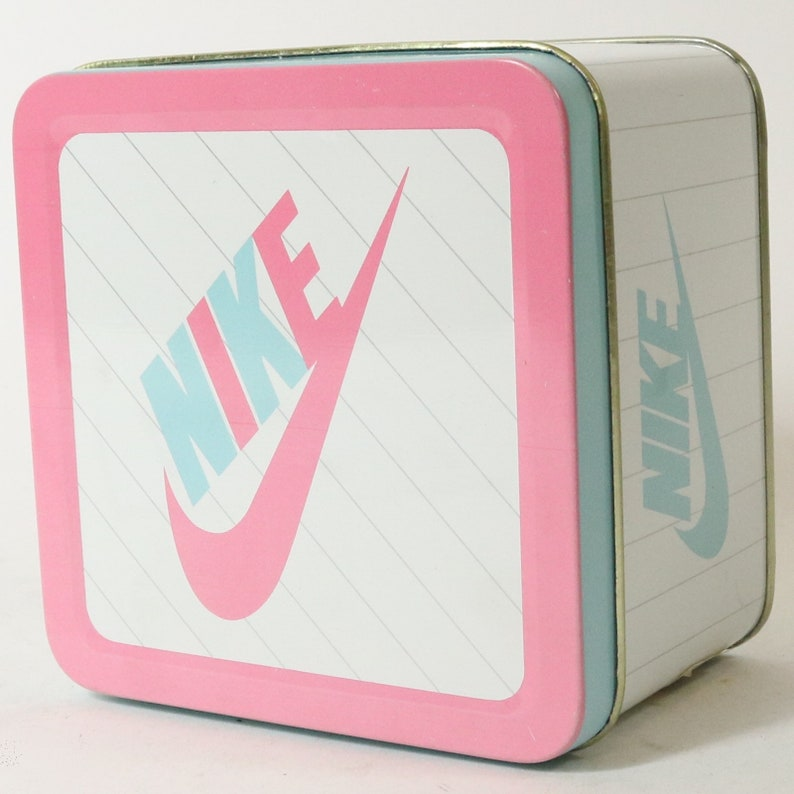 6e78ef25f3511 Vintage 1991 Nike Tin Shoe Box Pink & Blue Baby Sweet Dreams II -Lady  Footlocker