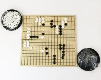 Vtg Japanese Go Game in Carrying Case - Board, Stones, Bowls, Book for Beginners