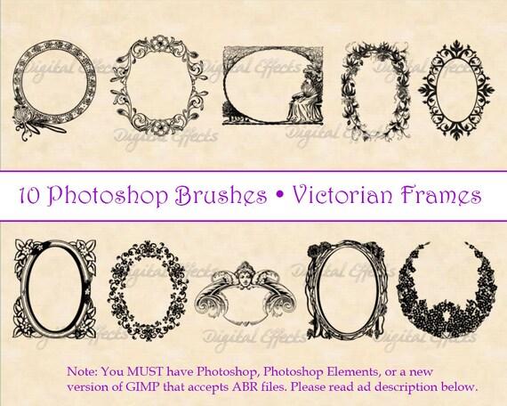 Photoshop Brushes, Vintage Frame Brushes, 10 Victorian Frames ...